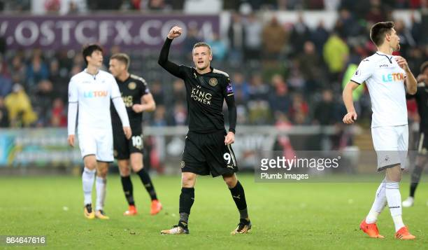 Jamie Vardy of Leicester City celebrates after the final whistle of the Premier League match between Swansea City and Leicester City at Liberty...