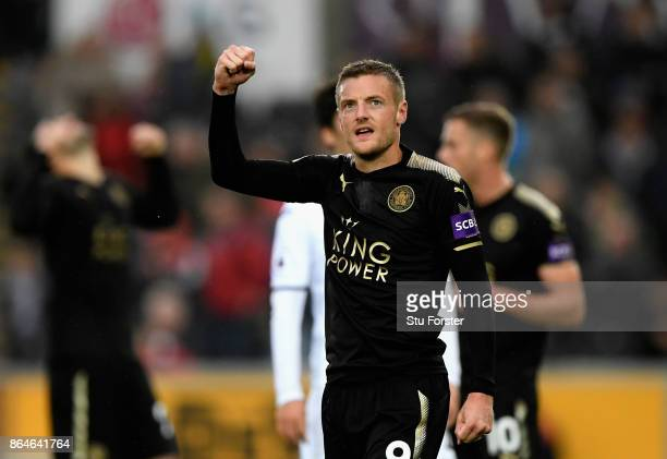 Jamie Vardy of Leicester City celebrates after the Premier League match between Swansea City and Leicester City at Liberty Stadium on October 21 2017...