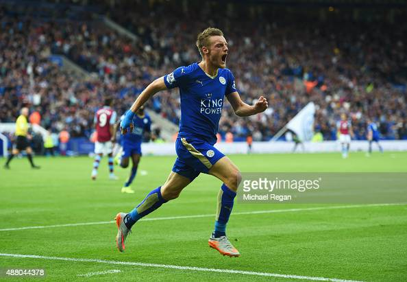 Jamie Vardy of Leicester City celebrates as he scores their second and equalising goal during the Barclays Premier League match between Leicester...