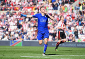 Jamie Vardy of Leicester City celebrates as he scores their second goal during the Barclays Premier League match between Sunderland and Leicester...