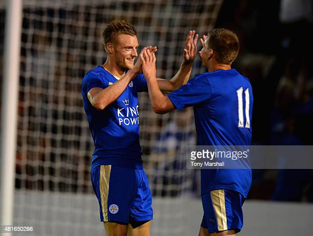 Jamie Vardy of Leicester City celebrates scoring a goal with Marc Albrighton during the Pre Season Friendlly match between Lincoln City and Leicester...