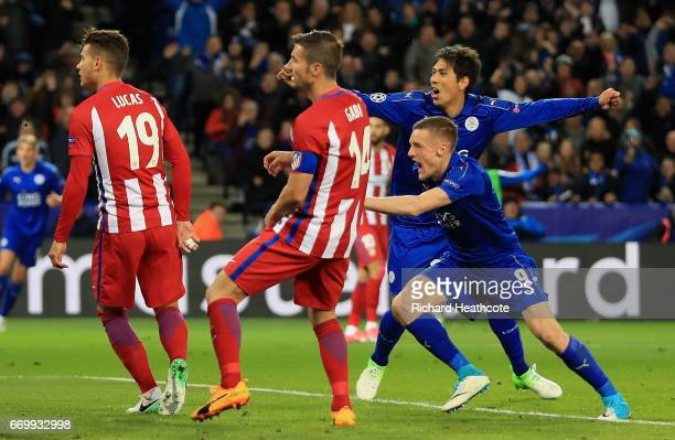 Jamie Vardy of Leicester City celebrates scoring his sides first goal during the UEFA Champions League Quarter Final second leg match between...