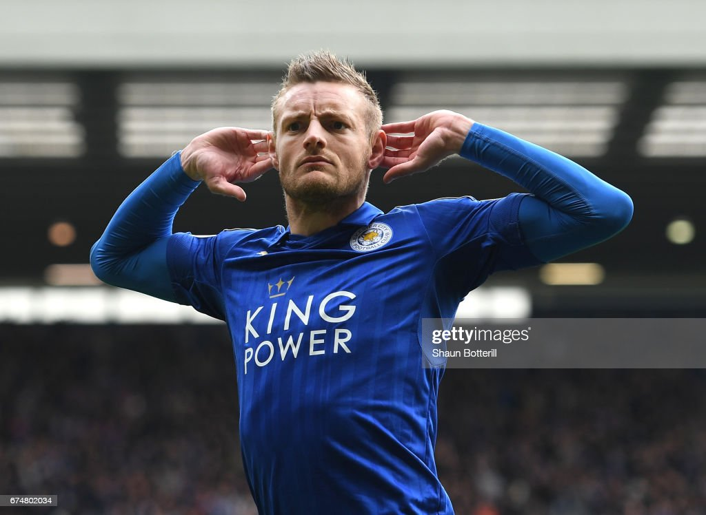 Jamie Vardy of Leicester City celebrates scoring his sides first goal during the Premier League match between West Bromwich Albion and Leicester City at The Hawthorns on April 29, 2017 in West Bromwich, England.