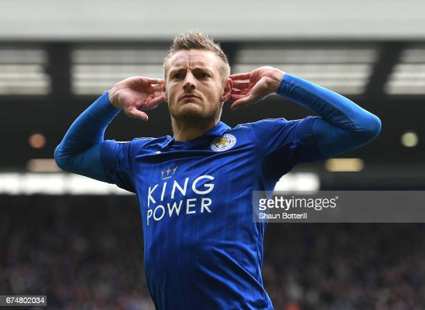 Jamie Vardy of Leicester City celebrates scoring his sides first goal during the Premier League match between West Bromwich Albion and Leicester City...