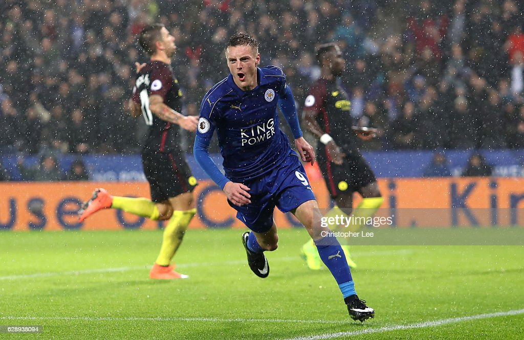 Jamie Vardy of Leicester City celebrates scoring his sides third goal during the Premier League match between Leicester City and Manchester City at the King Power Stadium on December 10, 2016 in Leicester, England.