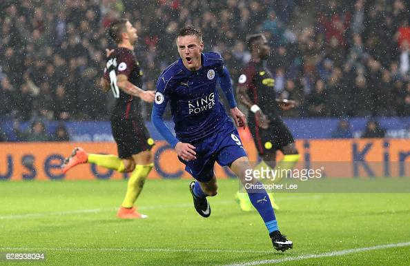 Jamie Vardy of Leicester City celebrates scoring his sides third goal during the Premier League match between Leicester City and Manchester City at...