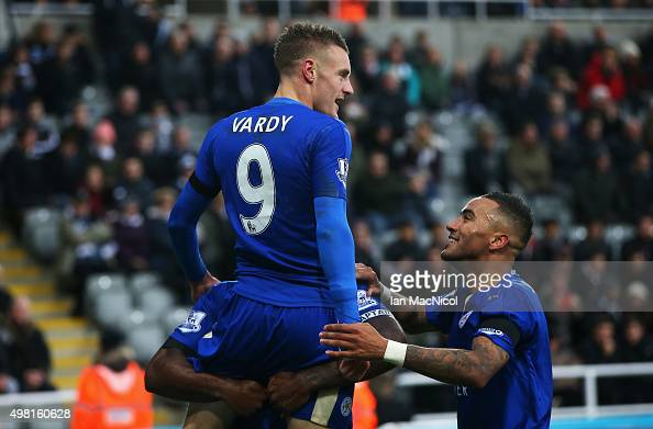 Jamie Vardy of Leicester City celebrates scoring his team's first goal with his team mates during the Barclays Premier League match between Newcastle...