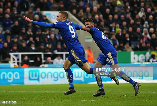 Jamie Vardy of Leicester City celebrates scoring his team's first goal with his team mate Riyad Mahrez during the Barclays Premier League match...