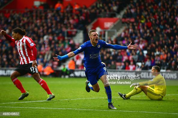 Jamie Vardy of Leicester City celebrates scoring his team's second goal during the Barclays Premier League match between Southampton and Leicester...