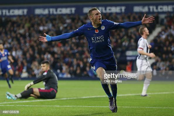 Jamie Vardy of Leicester City celebrates scoring his team's third goal during the Barclays Premier League match between West Bromwich Albion and...