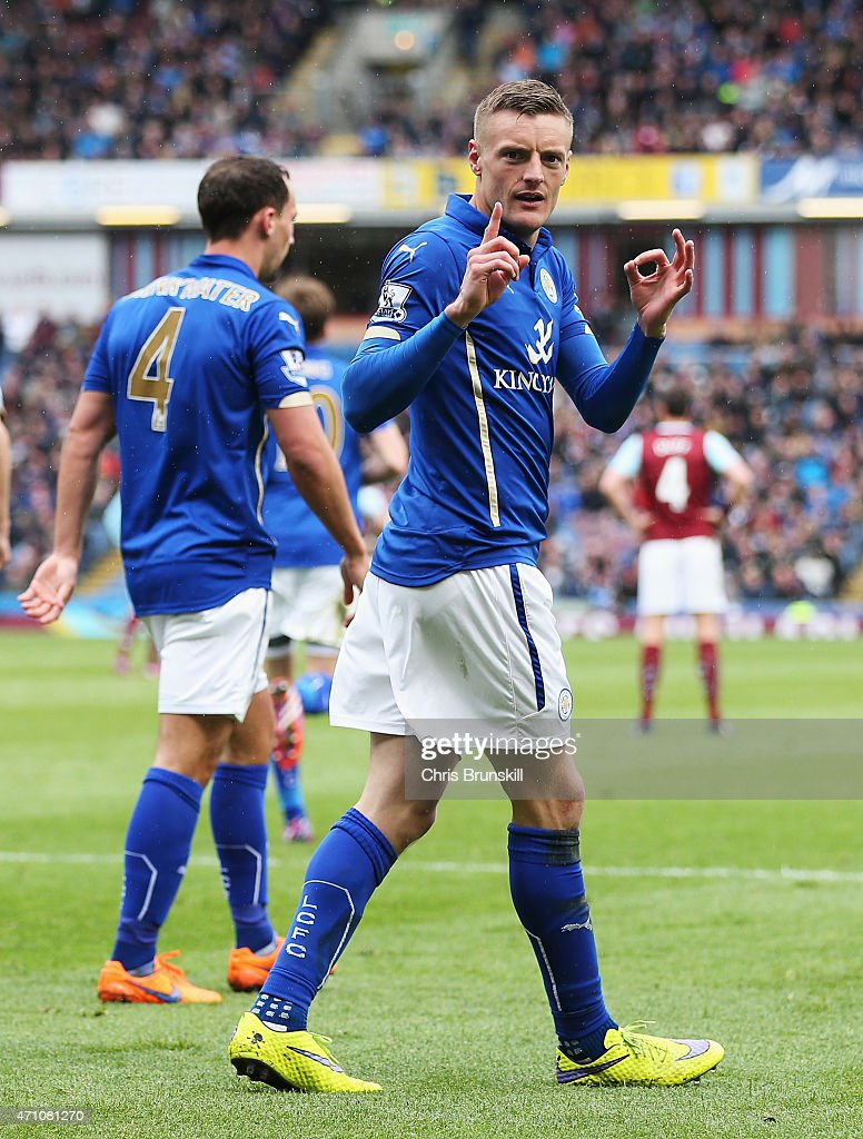 Jamie Vardy of Leicester City celebrates scoring their first goal during the Barclays Premier League match between Burnley and Leicester City at Turf...