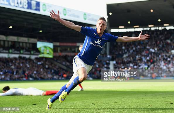 Jamie Vardy of Leicester City celebrates scoring their third goal during the Barclays Premier League match between West Bromwich Albion and Leicester...