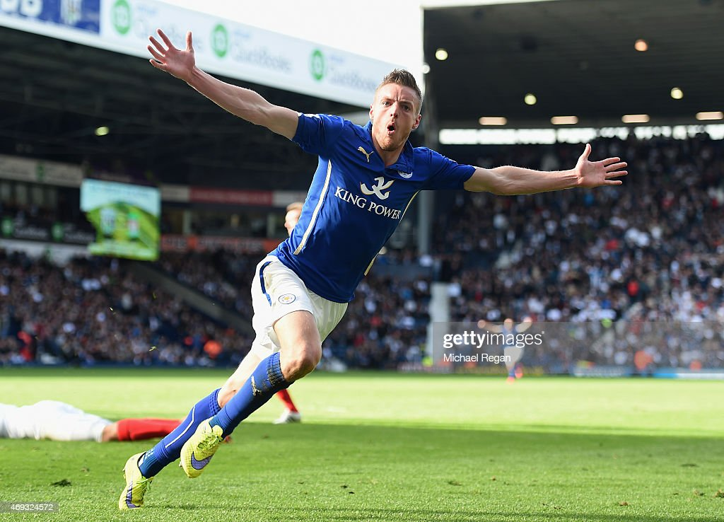 Jamie Vardy of Leicester City celebrates scoring their third goal during the Barclays Premier League match between West Bromwich Albion and Leicester City at The Hawthorns on April 11, 2015 in West Bromwich, England.