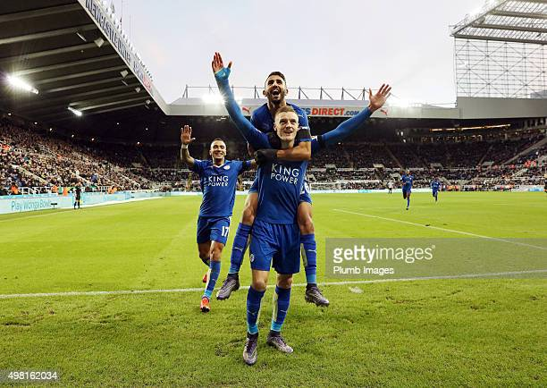 Jamie Vardy of Leicester City celebrates with Riyad Mahrez of Leicester City after scoring to equal Ruud Van Nistelrooy's record of scoring in 10...