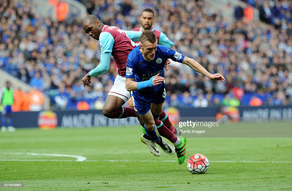 Jamie Vardy of Leicester City clashes with Angelo Ogbonna of West Ham, which resulted in the Leicester player being sent off for diving, during the Barclays Premier League match between Leicester City and West Ham at the King Power Stadium on April 17 , 2016 in Leicester, United Kingdom.