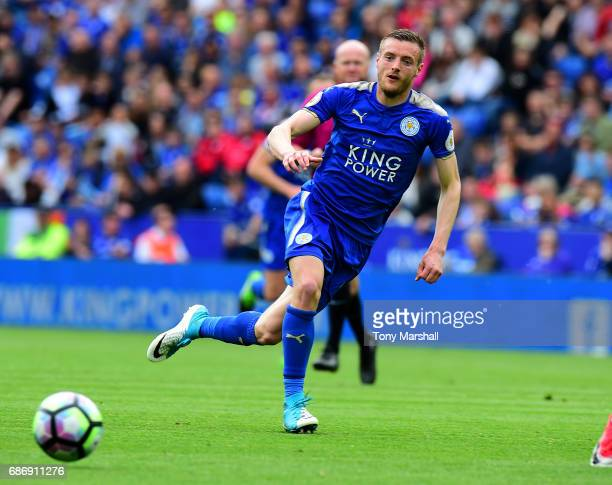 Jamie Vardy of Leicester City during the Premier League match between Leicester City and AFC Bournemouth at The King Power Stadium on May 21 2017 in...