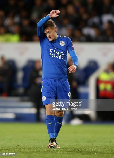 Jamie Vardy of Leicester City during the Premier League match between Leicester City and West Bromwich Albion at The King Power Stadium on October 16...