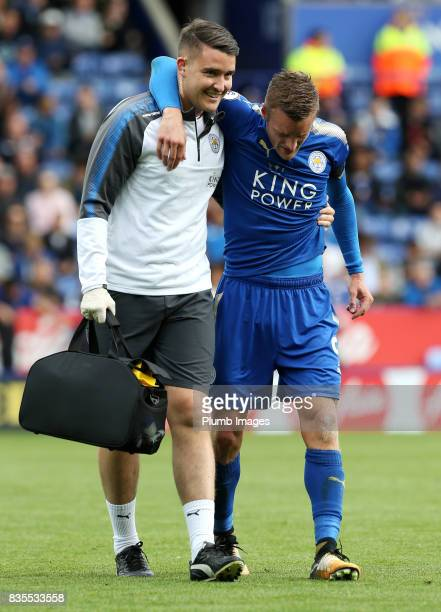 Jamie Vardy of Leicester City goes off injured during the Premier League match between Leicester City and Brighton and Hove Albion at King Power...