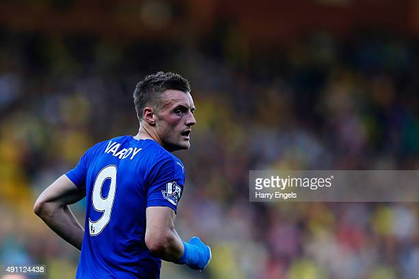 Jamie Vardy of Leicester City in action during the Barclays Premier League match between Norwich City and Leicester City at Carrow Road on October 3...