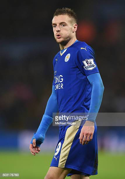 Jamie Vardy of Leicester City in action during the Barclays Premier League match between Leicester City and Bournemouth at The King Power Stadium on...