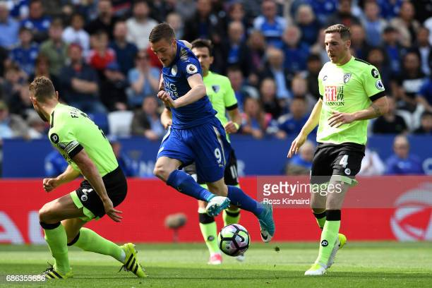 Jamie Vardy of Leicester City in action during the Premier League match between Leicester City and AFC Bournemouth at The King Power Stadium on May...
