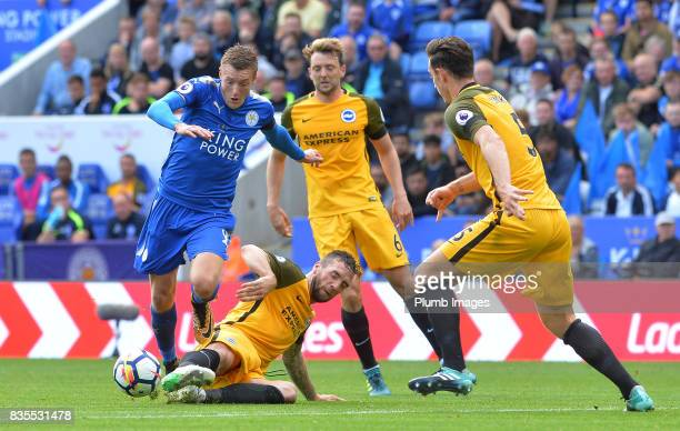 Jamie Vardy of Leicester City in action during the Premier League match between Leicester City and Brighton and Hove Albion at King Power Stadium on...