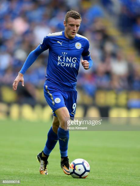 Jamie Vardy of Leicester City in action during the Premier League match between Leicester City and Brighton and Hove Albion at The King Power Stadium...