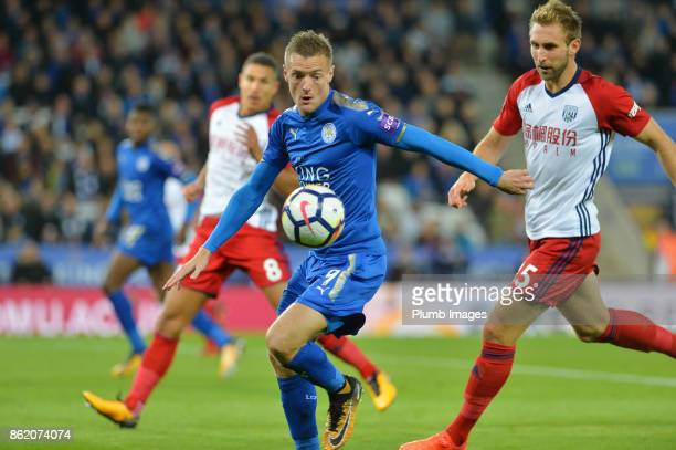 Jamie Vardy of Leicester City in action during the Premier League match between Leicester City and West Bromwich Albion at King Power Stadium on...
