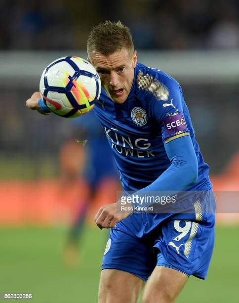 Jamie Vardy of Leicester City in action during the Premier League match between Leicester City and West Bromwich Albion at The King Power Stadium on...