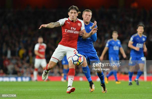 Jamie Vardy of Leicester City in action with Hector Bellerin of Arsenal during the Premier League match between Arsenal and Leicester City at...