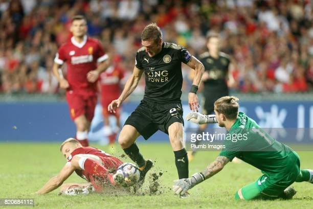 KONG JULY Jamie Vardy of Leicester City in action with Loris Karius of Liverpool during the Premier League Asia Trophy Final between Liverpool FC and...