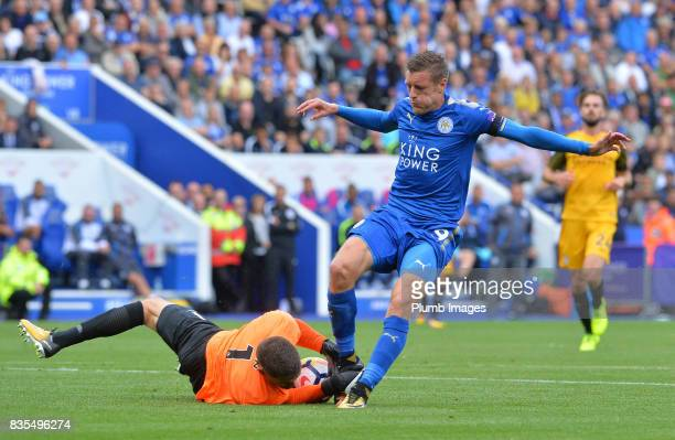 Jamie Vardy of Leicester City in action with Mat Ryan of Brighton and Hove Albion during the Premier League match between Leicester City and Brighton...