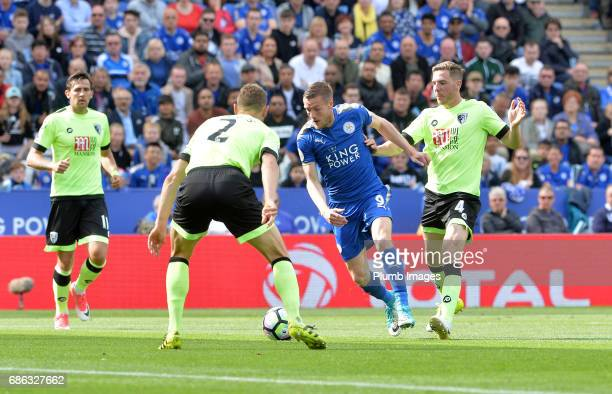 Jamie Vardy of Leicester City in action with Simon Francis of Bournemouth during the Premier League match between Leicester City and Bournemouth at...