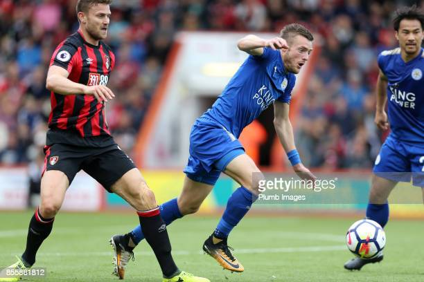 Jamie Vardy of Leicester City in action with Simon Francis of Bournemouth during the Premier League match between Bournemouth and Leicester City at...