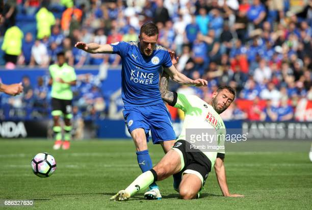 Jamie Vardy of Leicester City in action with Steve Cook of Bournemouth during the Premier League match between Leicester City and Bournemouth at King...