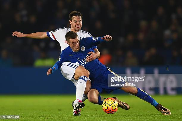 Jamie Vardy of Leicester City is tackled by Cesar Azpilicueta of Chelsea during the Barclays Premier League match between Leicester City and Chelsea...