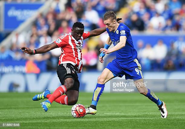 Jamie Vardy of Leicester City is tackled by Victor Wanyama of Southampton during the Barclays Premier League match between Leicester City and...
