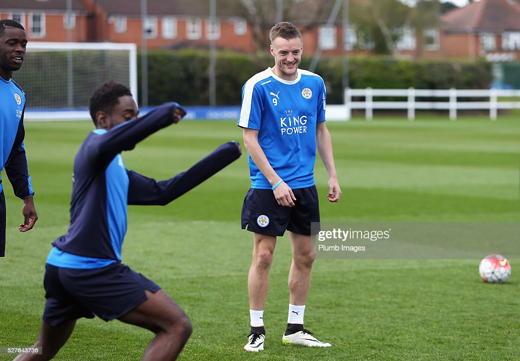 Jamie Vardy of Leicester City laughs during a Leicester City training session at Belvoir Drive Training Ground on May 3, 2016 in Leicester, England.