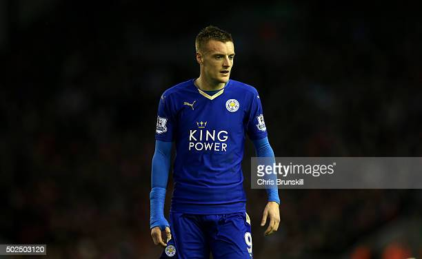 Jamie Vardy of Leicester City looks on during the Barclays Premier League match between Liverpool and Leicester City at Anfield on December 26 2015...
