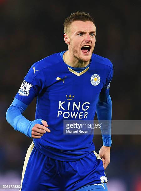 Jamie Vardy of Leicester City reacts during the Barclays Premier League match between Leicester City and Bournemouth at The King Power Stadium on...