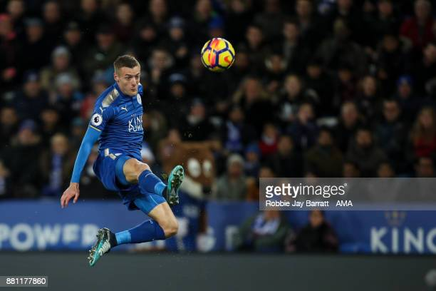 Jamie Vardy of Leicester City scores a goal to make it 10 during the Premier League match between Leicester City and Tottenham Hotspur at The King...