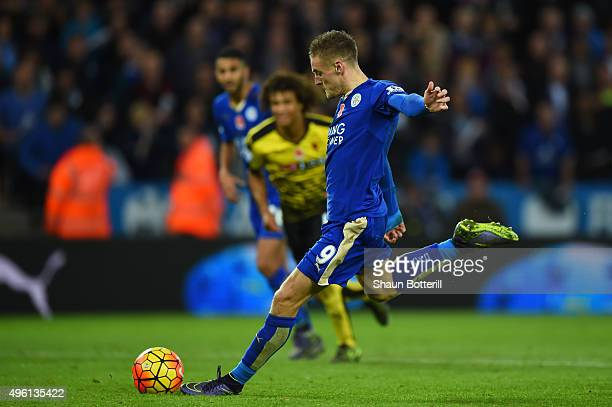 Jamie Vardy of Leicester City scores his team's second goal from the penalty spot during the Barclays Premier League match between Leicester City and...