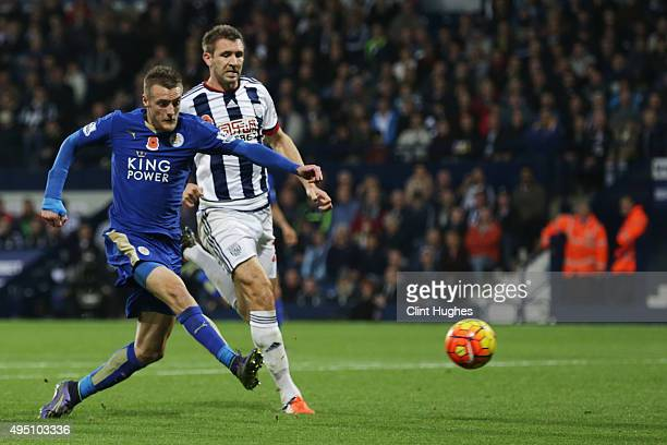 Jamie Vardy of Leicester City scores his team's third goal during the Barclays Premier League match between West Bromwich Albion and Leicester City...