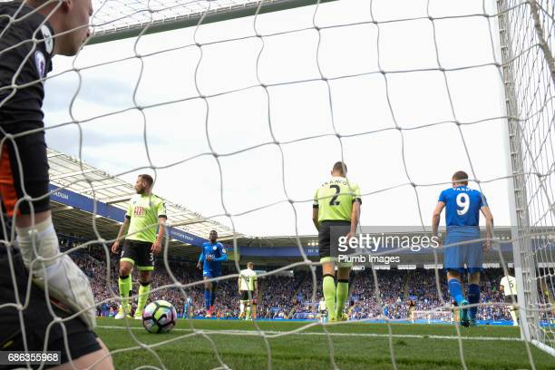 Jamie Vardy of Leicester City scores past Ryan Allsop of Bournemouth to make it 11 during the Premier League match between Leicester City and...