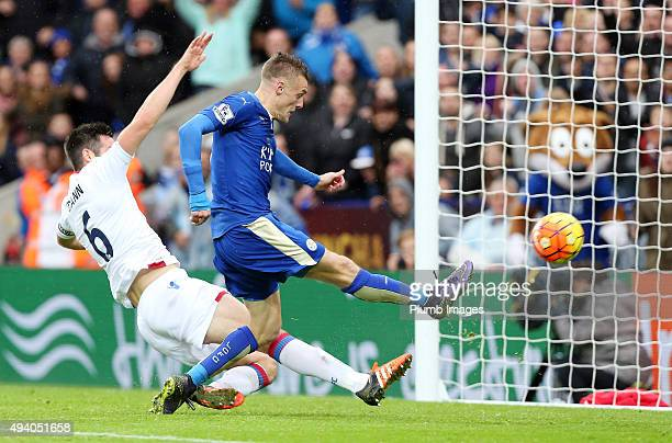 Jamie Vardy of Leicester City scores to make it 10 during the Barclays Premier League match between Leicester City and Crystal Palace at the King...