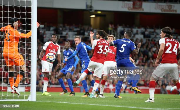 Jamie Vardy of Leicester City scores to make it 23 during the Premier League match between Arsenal and Leicester City at Emirates Stadium on August...