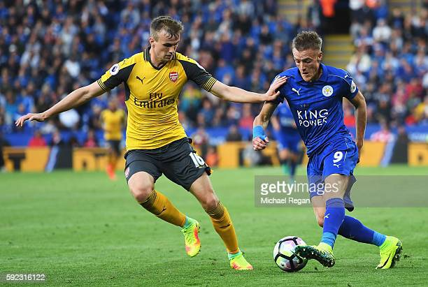 Jamie Vardy of Leicester City takes on Rob Holding of Arsenal during the Premier League match between Leicester City and Arsenal at The King Power...