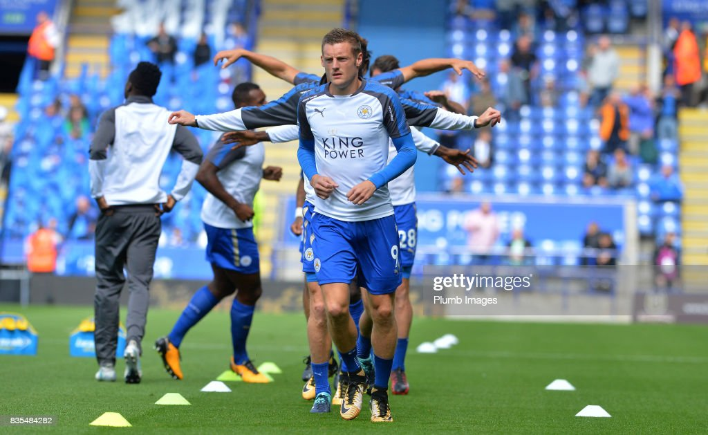Jamie Vardy of Leicester City warms up at King Power Stadium ahead of the Premier League match between Leicester City and Brighton and Hove Albion at King Power Stadium on August 19th, 2017 in Leicester, United Kingdom.