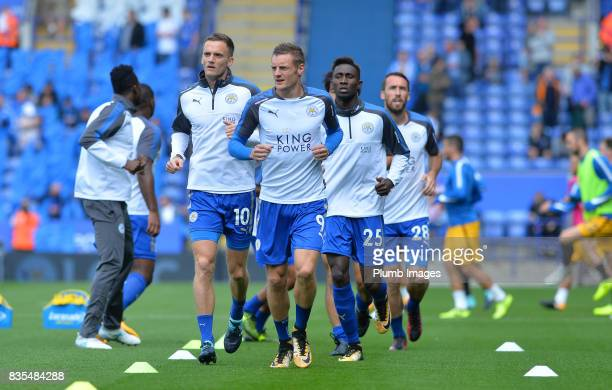 Jamie Vardy of Leicester City warms up at King Power Stadium ahead of the Premier League match between Leicester City and Brighton and Hove Albion at...