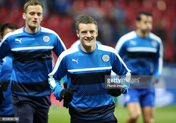 Jamie Vardy of Leicester City warms up at Telia Parken Stadium ahead of the UEFA Champions League match between FC Copenhagen and Leicester City at...